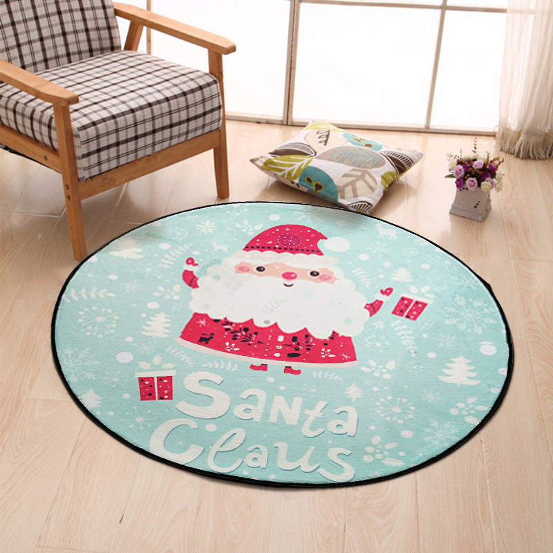 Cartoon Plush Floor Rug Round Carpet Childrens Bedroom Game Tents Santa Claus Decor Rugs Living Room Mats Kids Christmas Gift
