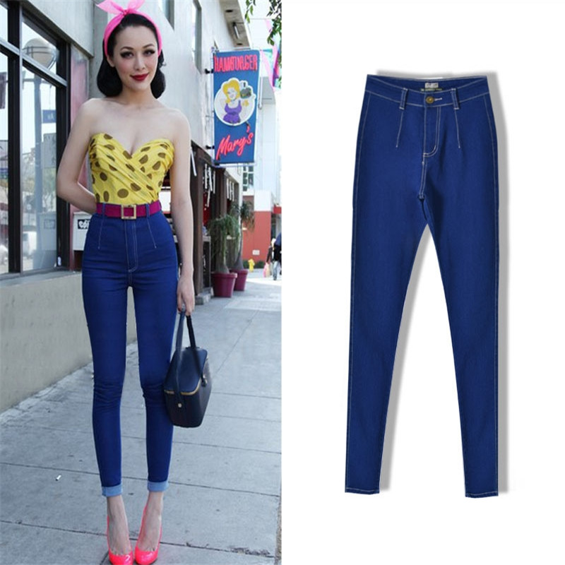2017 New Women s candy colored high waist Slim stretch pants Ladies Cotton Jeans Clothing brand