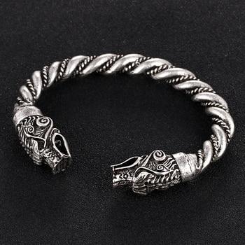 1 pc fait main Norse Viking Ferir père des loups Bracelets 3.5 oz hommes bras anneaux bijoux Antique argent Chunky torsion Bracelets 8