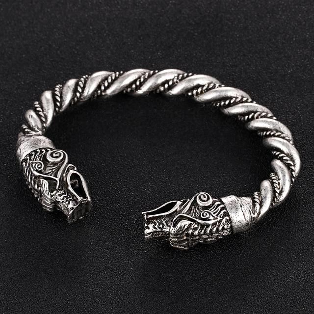 1 pc fait main Norse Viking Ferir père des loups Bracelets 3.5 oz hommes bras anneaux bijoux Antique argent Chunky torsion Bracelets 3