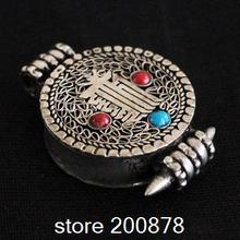 TGB007 антикварная тибетская Серебряная амулет калачакра маленькая молитвенная коробка 22 мм Подвески ГАУ