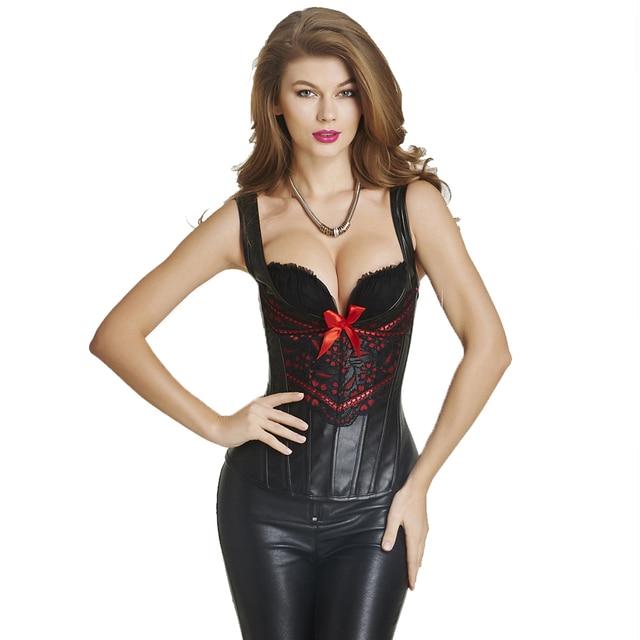 b946d8e3fc Women Steampunk Corset Lolita Gothic Faux Leather Corset With Shoulder  Strap Overbust Corsets and Bustiers Corselet Espartilhos
