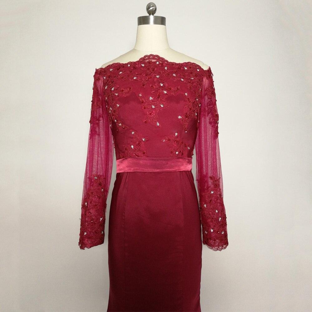 JIERUIZE bordeaux sirène robes de bal longue épaule manches longues robes de soirée formelle robes de soirée abendkleider - 4