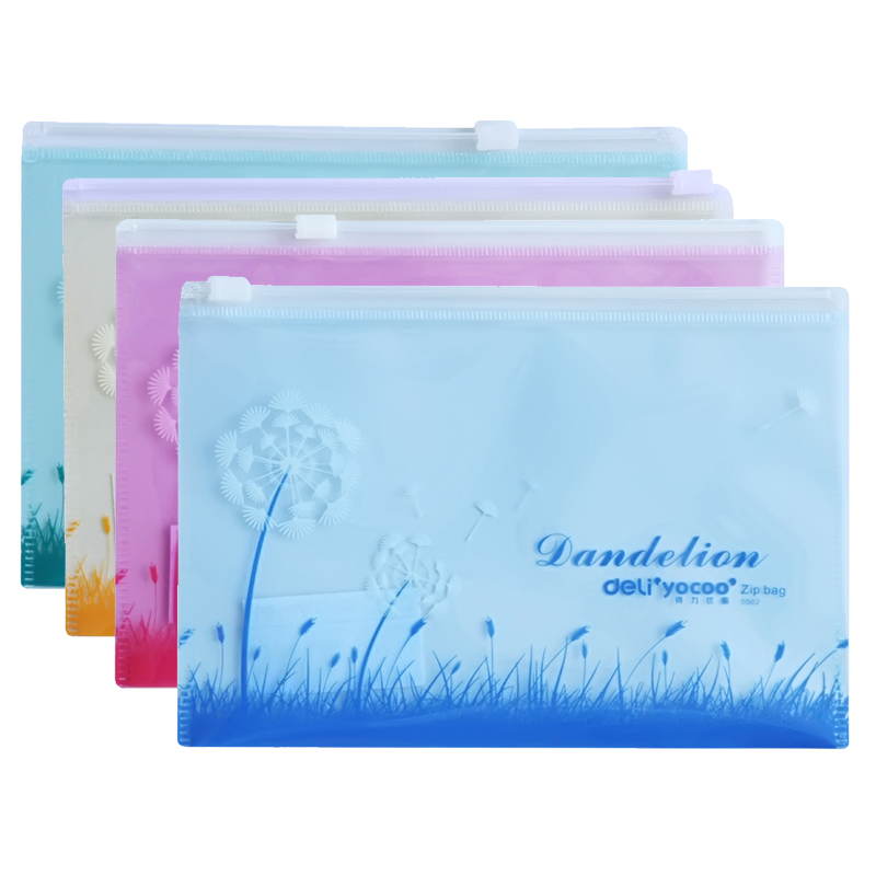 50pcs/lot Pull Edge File Bag A4 Antibacterial Cartoon Color Document Classified Storage Stationery File Holder