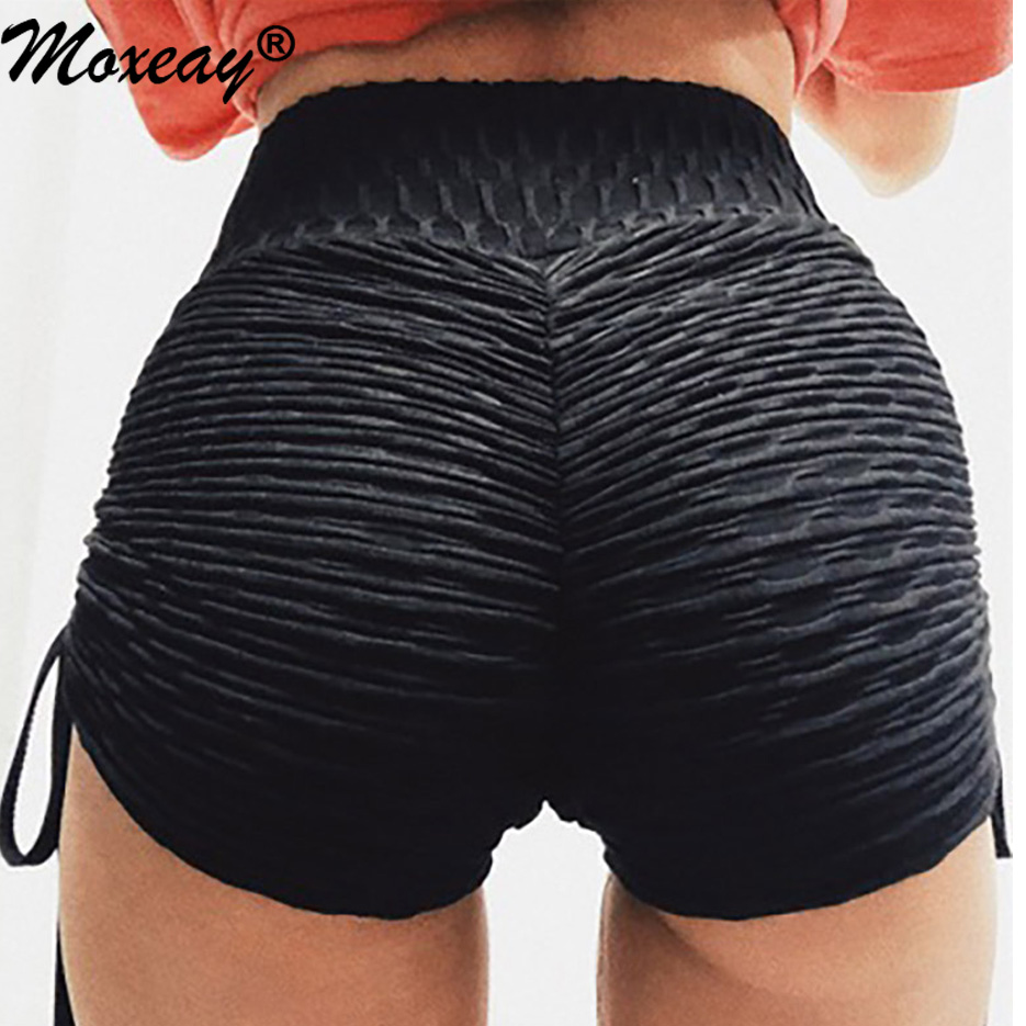 Moxeay Women Running Sport Short Ruched Fitness Anti Cellulite Push Up Elast High Waist Workout Stretchy Sporty Sweatpants Short