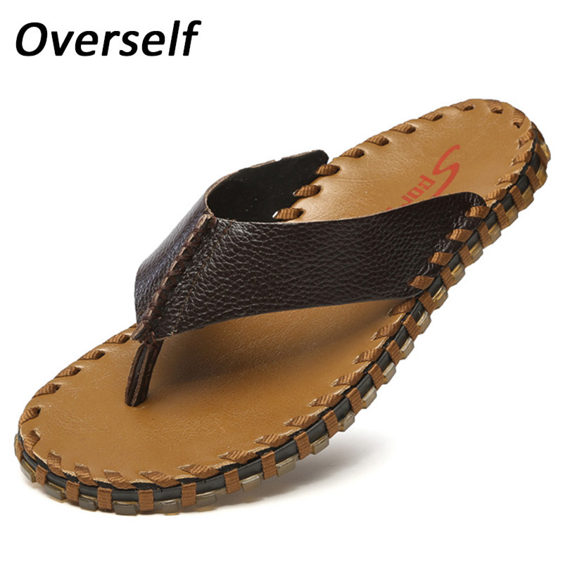 New Arrival Summer Men Flip Flops High Quality Genuine Leather Beach Sandals Spring Male Slippers Zapatos Hombre Casual Shoes 2016 brand new arrival spring summer men sjean slim regular fit stretchjeans pantalones vaqueros hombre calca asculina ml30