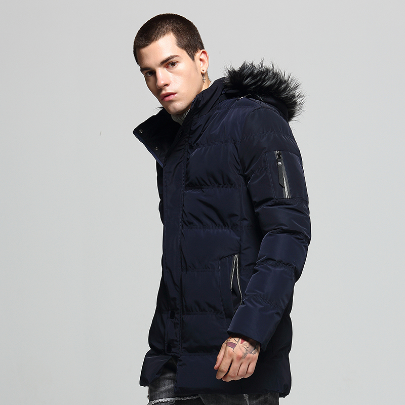 European American Fashion Winter Jackets Men Hooded Coats Casual Outwear Loose Fit Long Trench Men Thick Velvet Warm Men Parkas