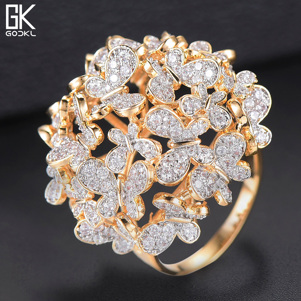 GODKI Statement-Rings Crystal Dubai Wedding Butterfly Jewelry Zircon Women Luxury