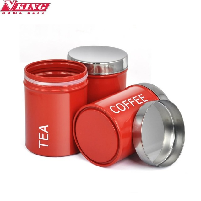 V King 3pc Set Elegant Stainless Steel Tea Coffee Sugar Storage Jars Bottle