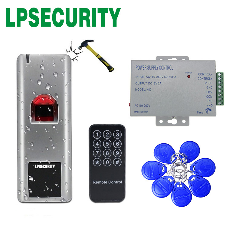 Outdoor 1000 Users Fingerprint Reader RFID Biometric Fingerprint Access Control Door Access System 10 Tags  Power Adapter 12V 3A