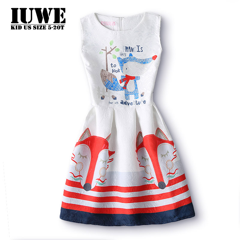 2017 Summer Kids Dresses for Girls FOX Little Animal Printed Elegant White Child Dress 6 12 14 Years Old Teenager Girls Clothing the little old lady in saint tropez