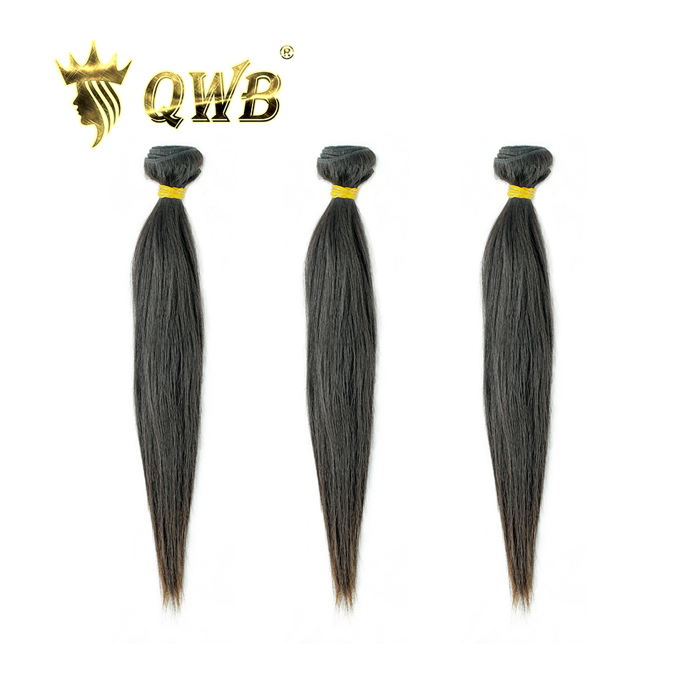 QUEEN WEAVE BEAUTY QWB Free shipping Straight 3Bundle Lots 10 28 Brazilian Virgin Nature Color 100