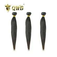 Qwb送料無料ストレート 3 バンドル/ロット 10 〜 28 プロ比ブラジルバージン自然色 100% 人毛エクステンション