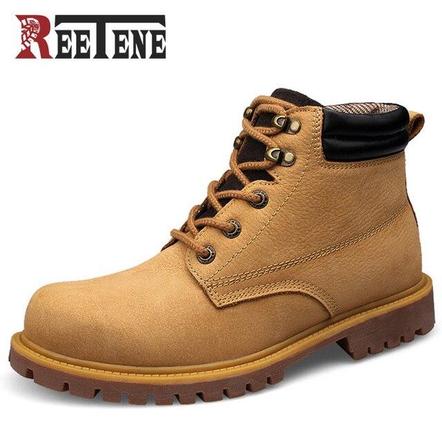 REETENE Brand Handmade Cowhide genuine leather men boots working boots platform buckle fashion men shoes British Martin Boots