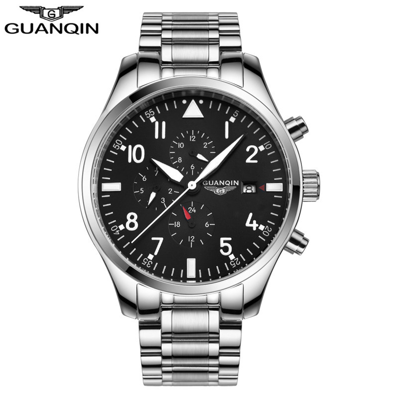 ФОТО GUANQIN GJ16012 PILOT'S WATCHES relogio masculino Automatic Mechanical Watches Men Sport Luxury Brand Luminous Watch