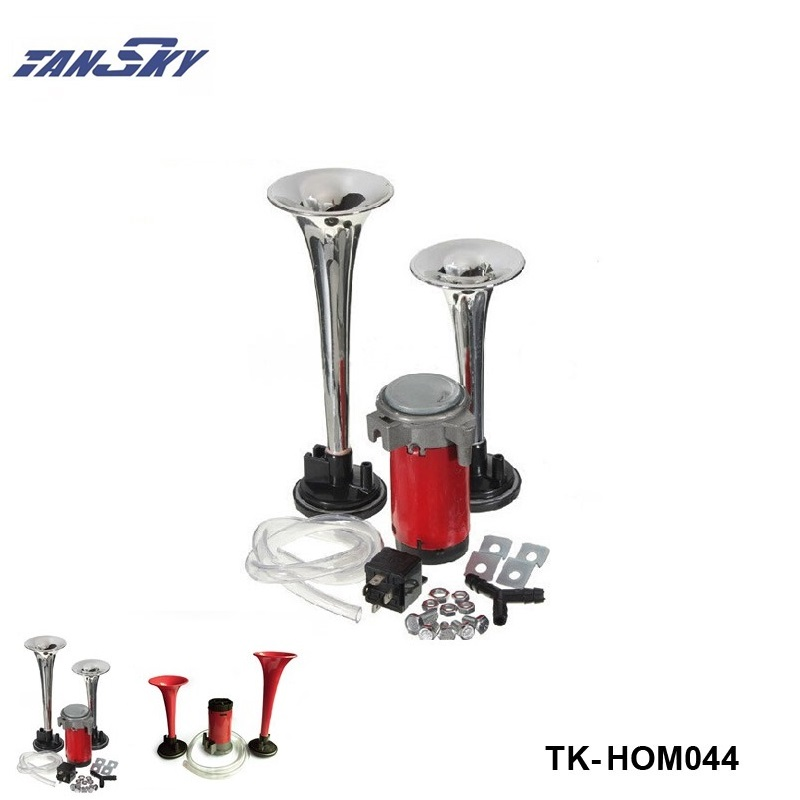Silver/Red Loud 12V 135db Twin Trumpet Air Horn & Compressor Set Kit Car Boat Truck For Ford Mustang 05-10 V8 ZAP TK-HOM044 new arrival 5x trumpet musical chrome air horn compose silver compressor car boat truck 125db 12v free shipping free shipping
