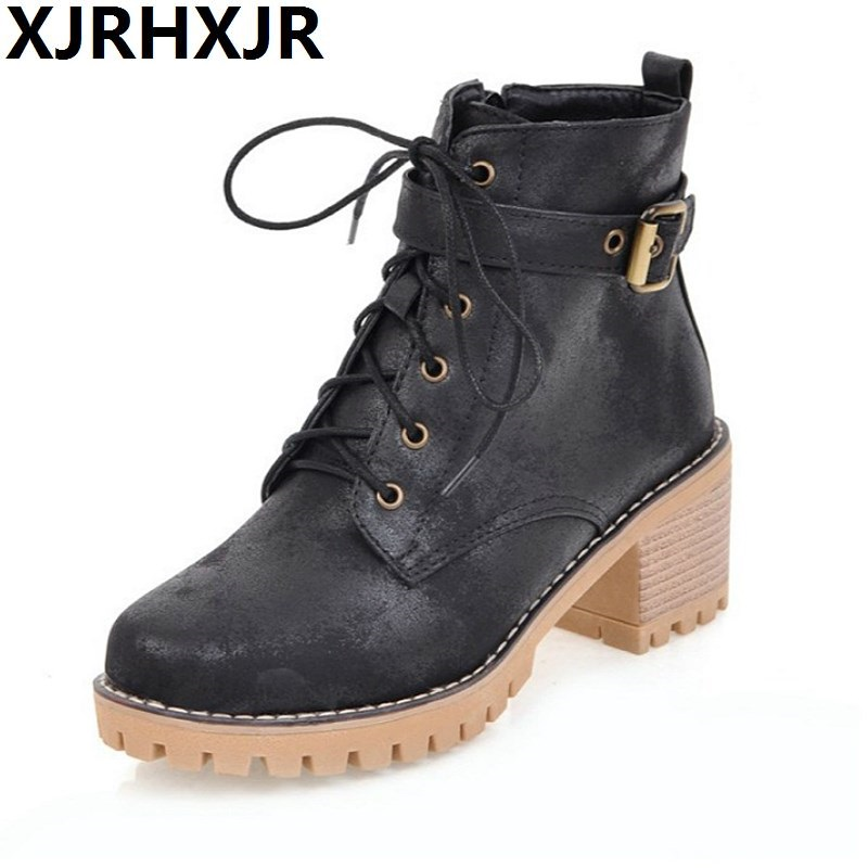 XJRHXJR British Style All-match New Shoes Women Fashion Lace Up Thick Heel Martin Boots Ladies Casual Ankle Boots Size 34-43 short boots woman the fall of 2017 a new restoring ancient ways british wind thick boots bottom students with martin boots