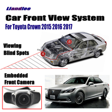 Liandlee Car Front View Camera Logo Grill Embedded For Toyota Crown 2015 2016 2017/ 4.3 LCD Screen Monitor / Cigarette Lighter