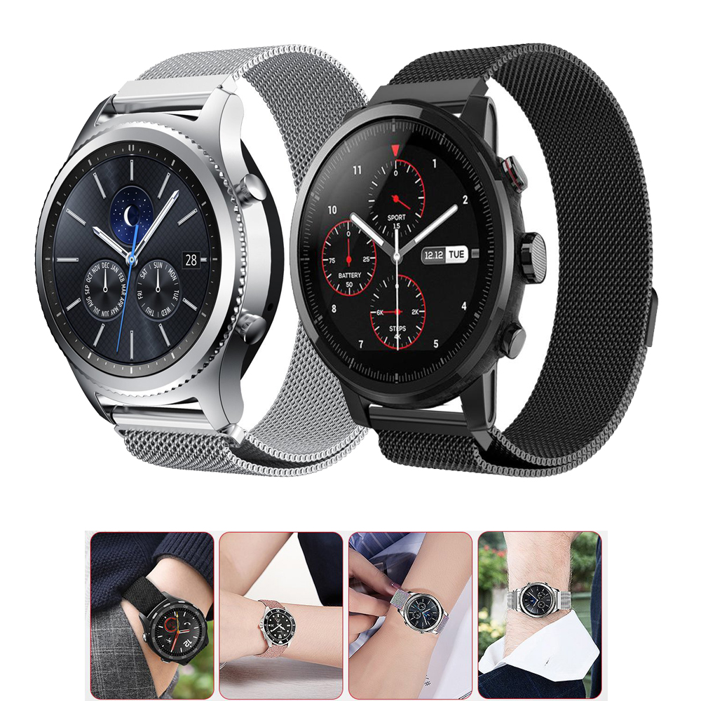 18mm/20mm/22mm Milanese Loop band for Samsung Gear S2/S3/S4 Frontier/Classic/huawei/amazfit strap smart watch bracelet wrist наушники samsung galaxy s5 s4 s3 3 2 s4 ace ej 10