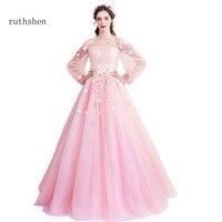Ruthshen 2018 принцессы Розовые платья для выпускного вечера с Длинные рукава Для женщин Формальные Вечерние платья с вырезом лодочкой для девоч