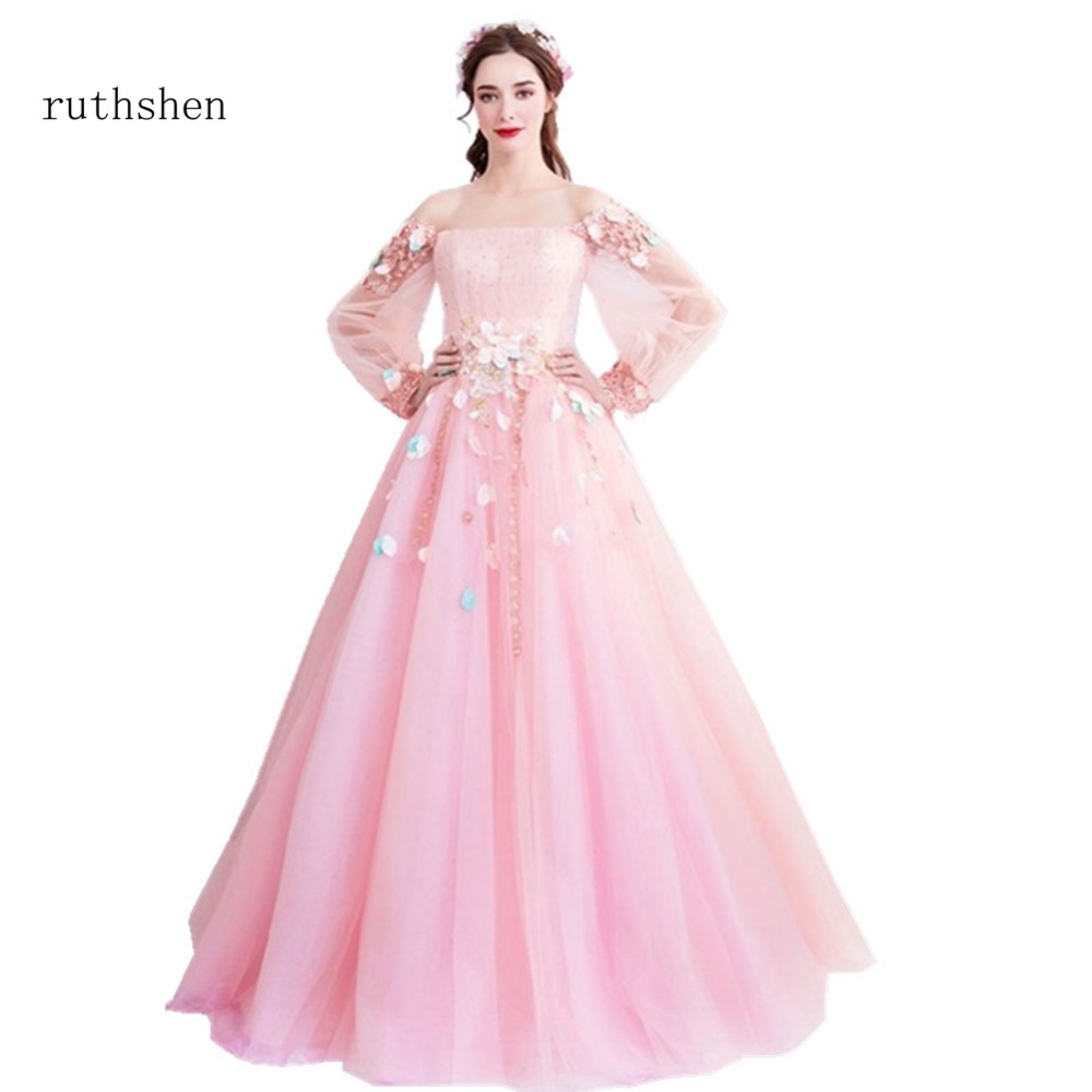 ruthshen 2018 Princess Pink Prom Dresses With Full Sleeves Women ...