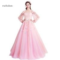 ruthshen 2018 Princess Pink Prom Dresses With Full Sleeves Women Formal Evening Dresses Long Boat Neck Vestido Robe De Soiree