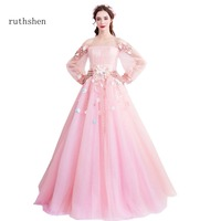 ruthshen 2018 Princess Pink Prom Dresses With Full Sleeves Women Formal Evening Dresses Long Boat Neck Vestido Robe De Soiree