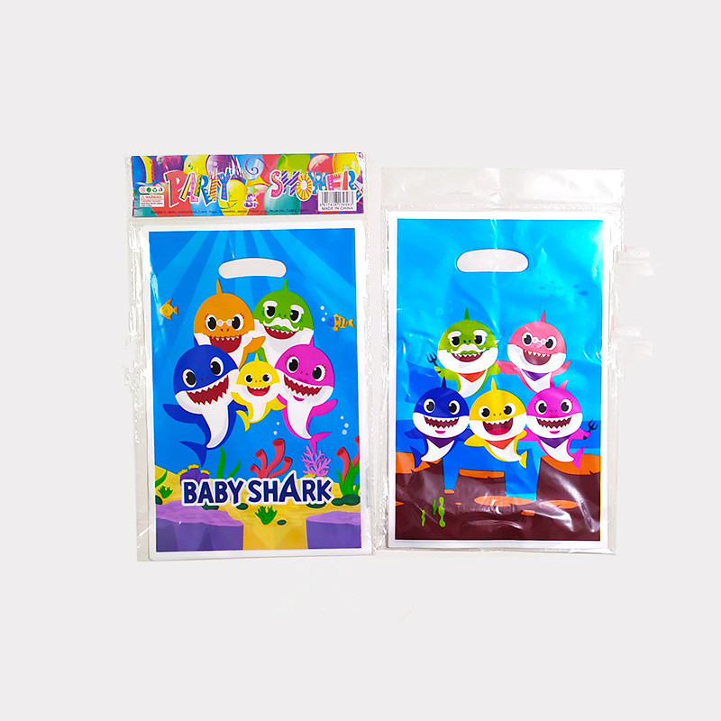 20 X Baby Shark Gift Bag Candy Box Kids Birthday Plastic Gift Bag Party Deco Supply
