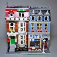 15001 15006 15007 15010 15011 15009 2082pcs Pet Shop Supermarket Model City Street Building Blocks Compatible legoing 10218 Toys