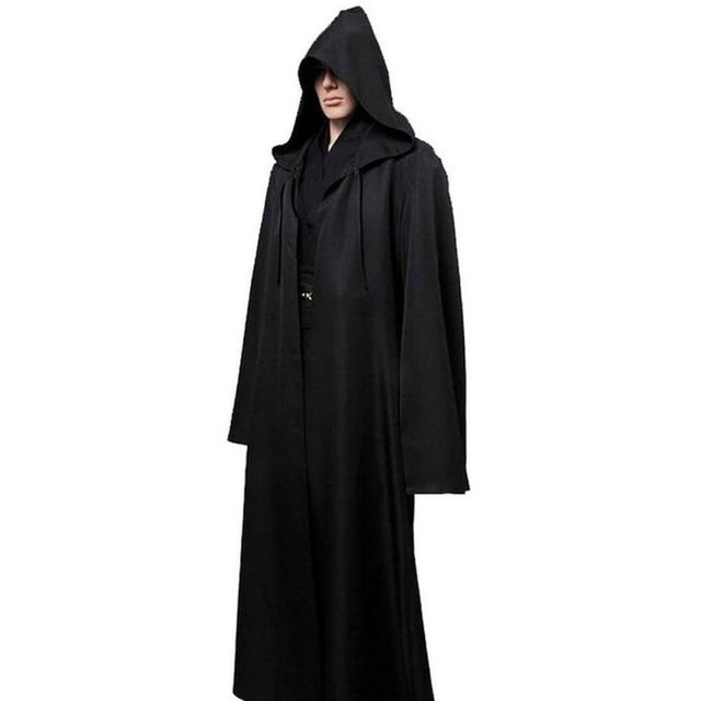men halloween star wars jedi cloak cos play adult hooded robe cloak cape halloween costume black