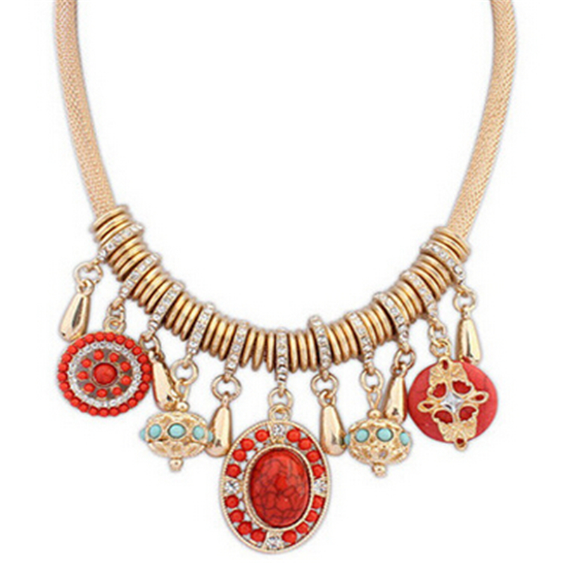 Retro Personality Pendant Noble Rhinestone Stones Vintage Jewelry Necklace Female Accessories CC2778
