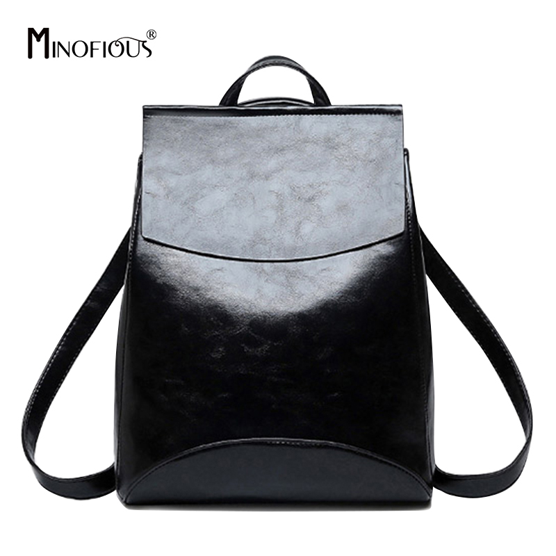 MINOFIOUS Fashion Women Genuine Leather Backpack Vintage Black Backpacks for Teenage Girls New Female School Bagpack mochila zency genuine leather backpacks female girls women backpack top layer cowhide school bag gray black pink purple black color