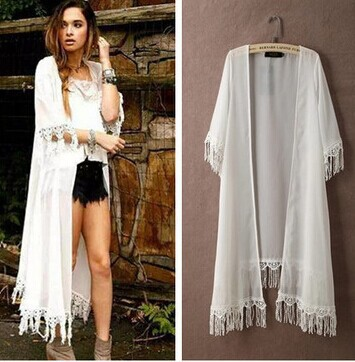 2017 New summer women chiffon dress vintage tassel long cardigan ...