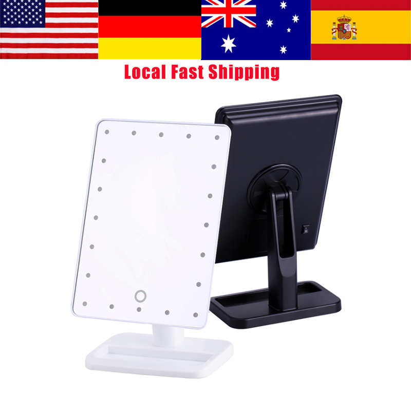 20LED Touch Screen Illuminated Makeup Stand Mirror Desktop Lighted Cosmetic Mirrors bathroom shower mirror New Arrival