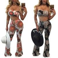 Women Sexy Tracksuit Femme Slash Neck Off Shoulder Crop Tops Wide Leg Flared Pants Print Two