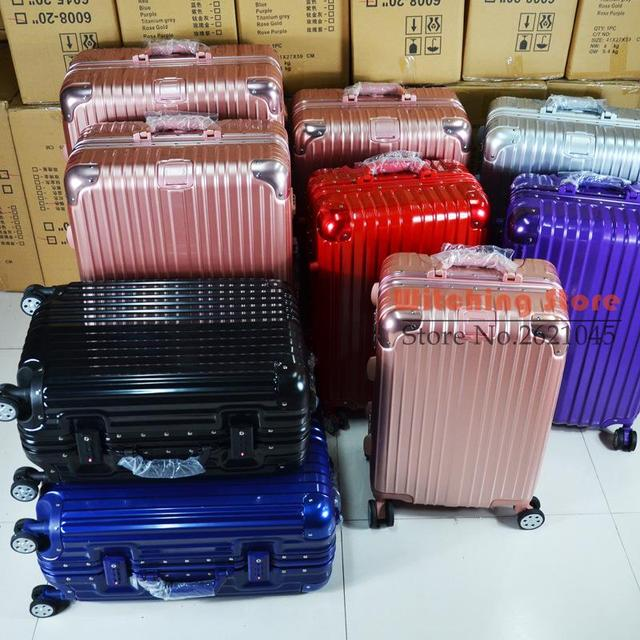 22 INCH 2022242629  One day the same package angle aluminum frame box rose  gold luggage d699a749405cf