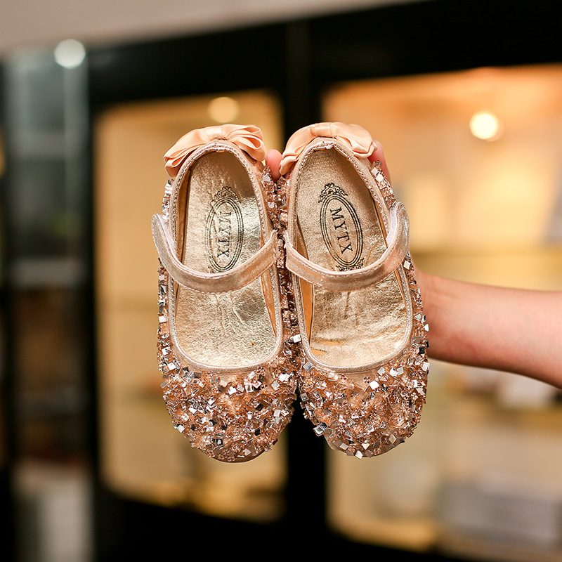 Gold Sequins Bowknot Summer Girls Singles Shoes Pink Crystal Breathable  Baby Girls Shoes Children s Princess Flat baba7aaecd7a