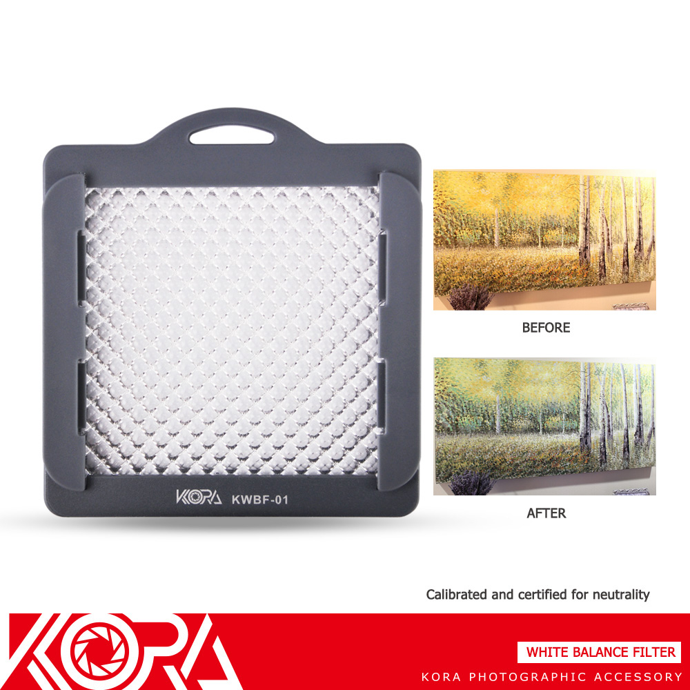 Prix pour Kora KWBF-01 Professionnel Balance des Blancs Filtre Avec Sangle Pour Appareil Photo objectif vers le haut à 83mm Fil Taille