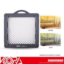 Kora KWBF 01Photography 카메라 렌즈 용 스트랩 그레이 카드가있는 전문 화이트 밸런스 필터 최대 83mm 스레드 크기