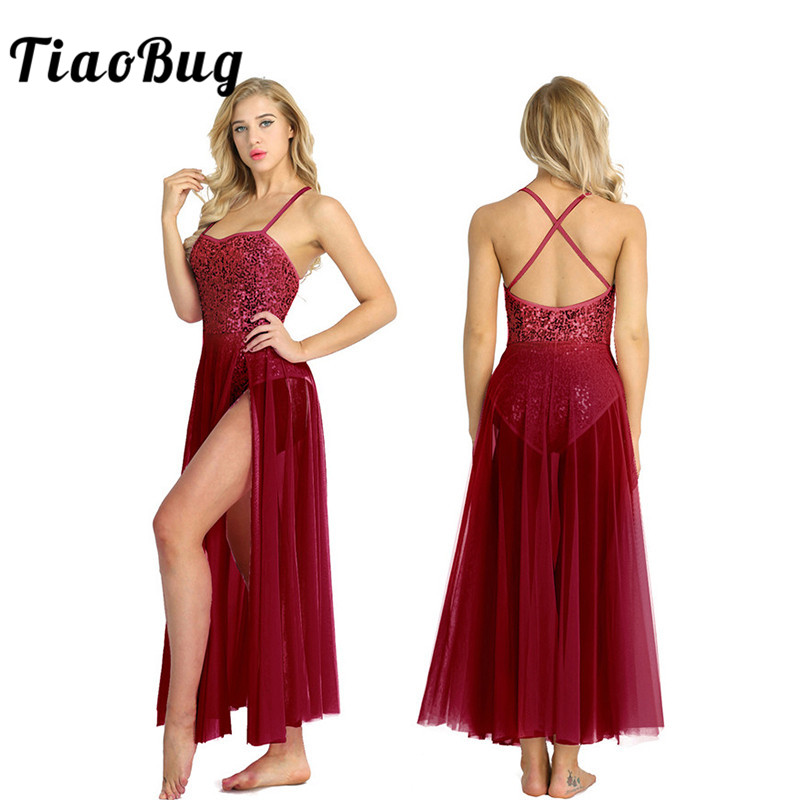 TiaoBug Women Shiny Sequins Stage Lyrical Dance Costumes Tutu Mesh Long Dress Adult Spaghetti Straps Ballet Leotard Dance Dress