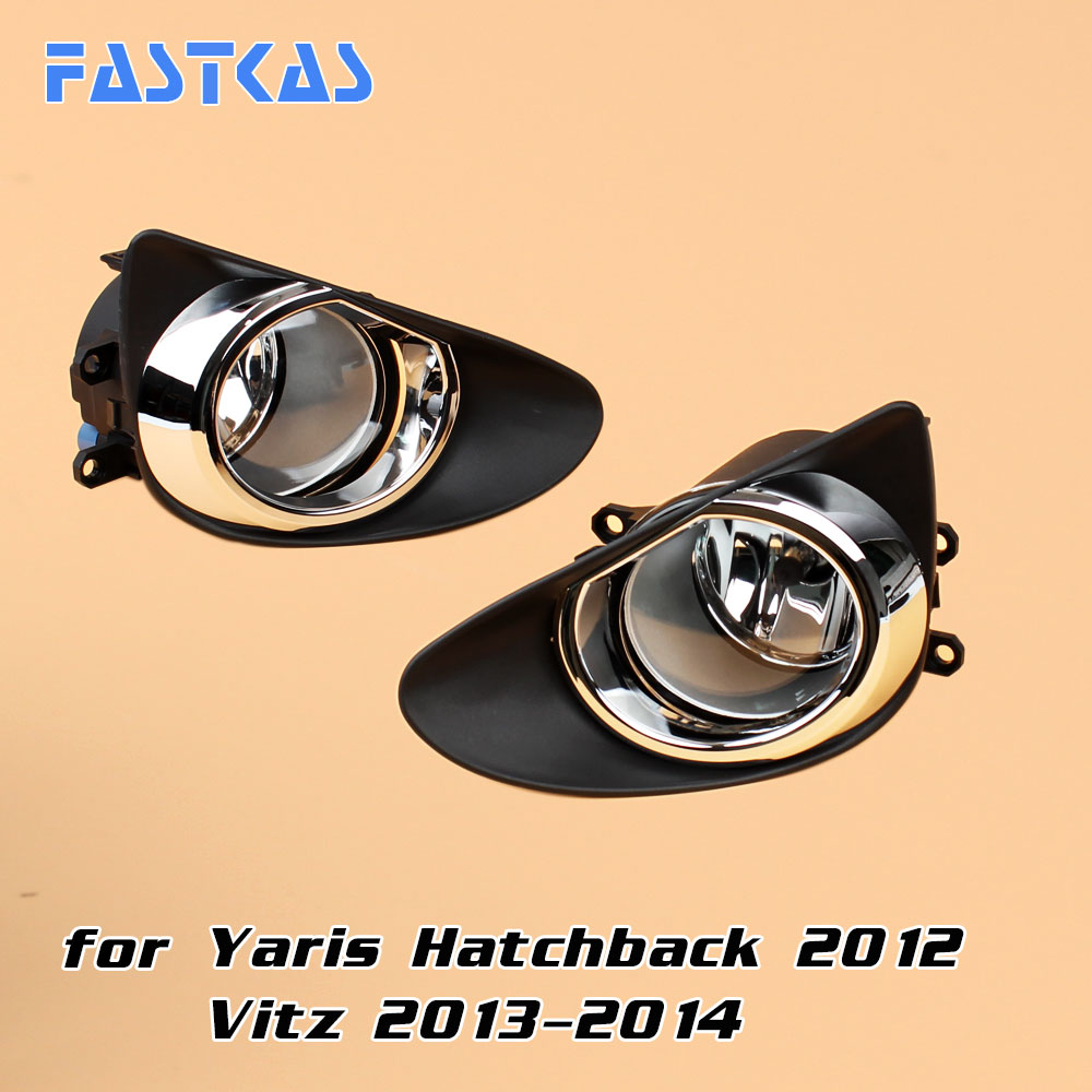 12v 55w Car Fog Light for Toyota Yaris Hatchback 2012 Vitz 2013 2014 Left & Right Fog Lamp has Switch Wire Plastic/Chrome Cover 12v car fog light assembly for toyota rav4 2013 2015 front left and right set fog light lamp with harness relay fog light