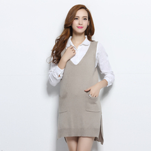 2016 Women's Cashmere Wool Long Deep V Neck Sleeveless Vest Sweater and Pullovers Solid Color With Pockets
