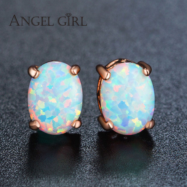 Vintage Oval Opal Earrings Women Rose Gold Color Fashion The Black Friday Earings