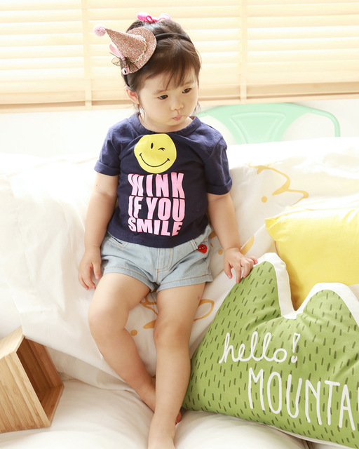 2016 verão novo Coreano exportações para a Coreia Do Sul original sorriso da menina do menino de algodão T-shirt roupas para crianças