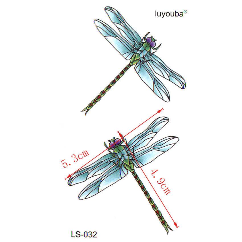 แมลงปอสีฟ้ากันน้ำรอยสักชั่วคราวผู้ชายฮาราจูกุแฟลชสติ๊กเกอร์สักtatooแขนปลอมt atto faux tatouage e spada