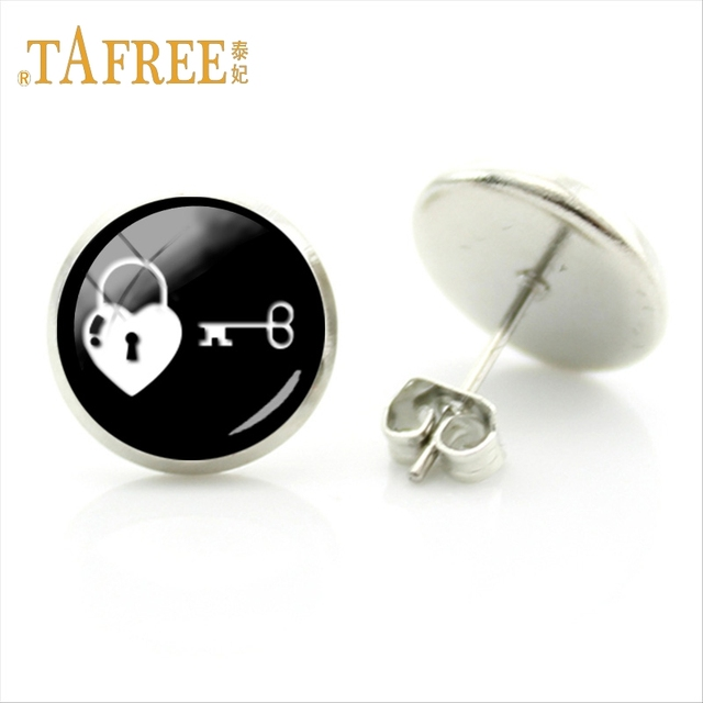 Tafree Vintage Key Art Pictures Photo Student Earring Home Decor Arts Lock Valentine S Day Gift