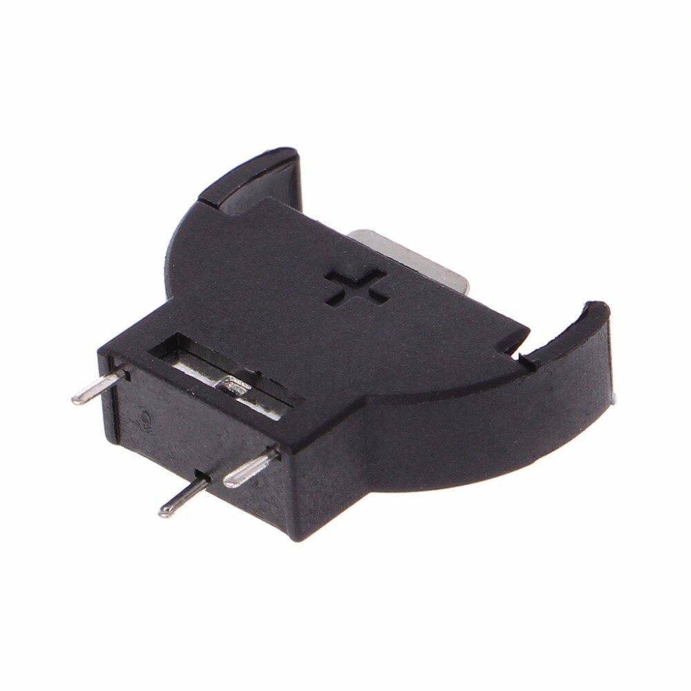 Кнопка Батарея держатель 20 шт. Пластик В виде ракушки CR2032 кнопки сотового Батарея Розетки держатель Дело Черный 3 В 3pin