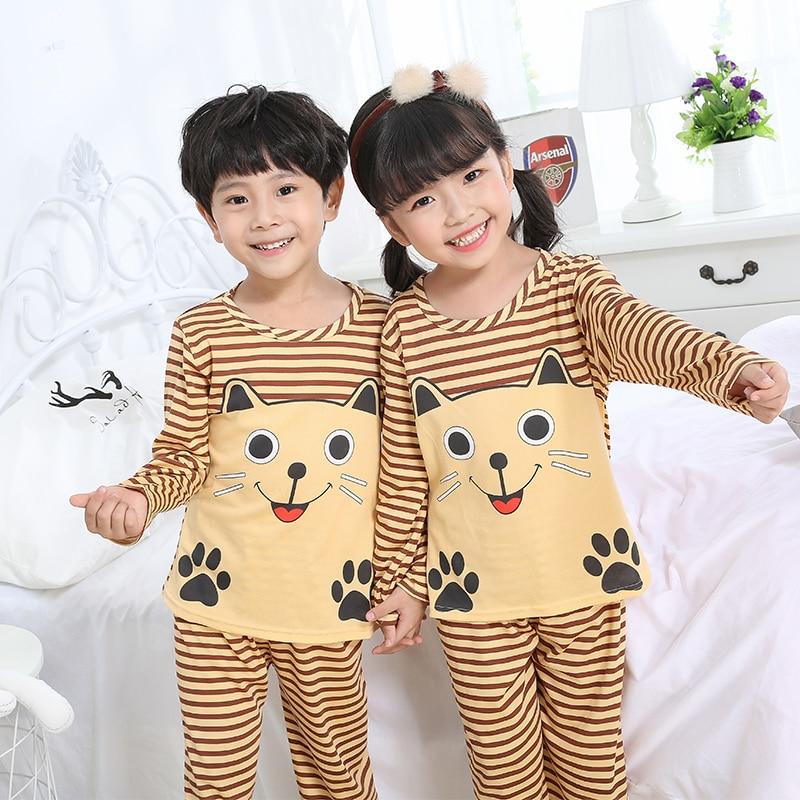 Pajamas     sets   Christmas gift Spring and autumn 2018 Boys Girls Kids Clothing Cartoon Suit Sleepwear Long Sleeve baby   Pajamas   Suit