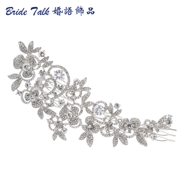 Fashion Long Flower Wedding Hair Comb Gold & Silver Clear Rhinestone Crystal Hai