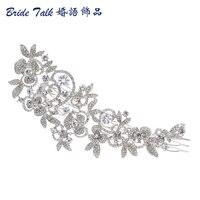 Fashion Long Flower Wedding Hair Comb Gold Silver Clear Rhinestone Crystal Hair Accessories Women Jewelry